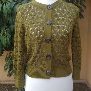 Old Navy green olive crochet cardigan sweater